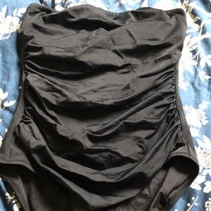 SOLD - J Crew ruched strapless one piece 10 black